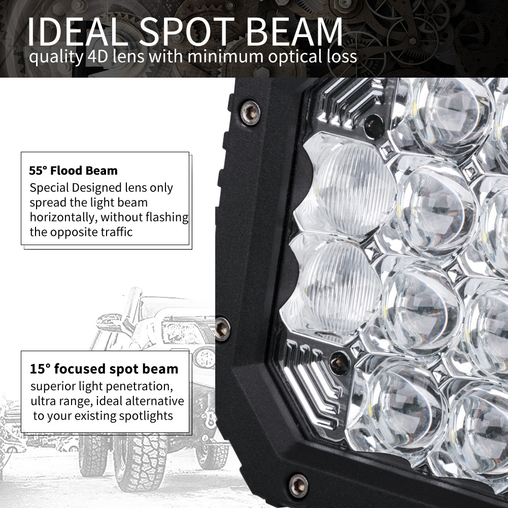 2X 7inch 5D Square LED Driving Light Bar Spot Flood Combo Offroad Boat Truck SUV 2