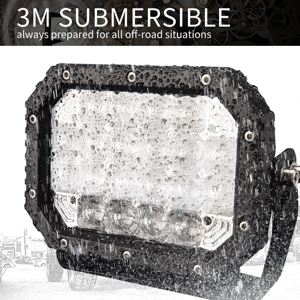 2X 7inch 5D Square LED Driving Light Bar Spot Flood Combo Offroad Boat Truck SUV 4