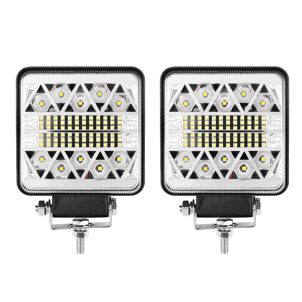 Pair 4inch LED Driving Lights Work Spot Flood Combo Cree Square Offroad 4WD 1